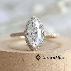 2Ct White Marquise Cut Engagement Ring Yellow Gold